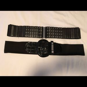 2 Plus Size Black Stretch Belts